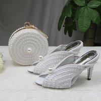 Baoyafang 9cm Pearl White Pearl Zapatos de boda y bolsas Novia High Heels Zapatos Damas Vestido de fiesta Mujer Abre Toe Slingbacks1