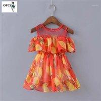 Девушка платья Детские платья Летние Детские девочки кружева о-образным вырезом хлопок детский лимон печатанный милый малыш сладкая одежда 1-3 T1