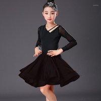 무대 착용 소녀 라틴 드레스 춤도 룸 댄스 드레스 Rumba Samba 솔리드 스커트 어린이 Cha Tango Standard1