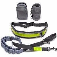 الرياضة مرنة كلب المقود التدريب مجموعة النايلون الأيدي الحرة الخصر حزام تشغيل المقود ل كلب كبير الركض الرصاص قطاع عاكس