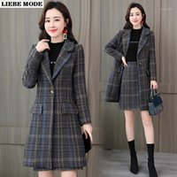 Women' s Office Suits Elegant Plaid Trench Coat and Skir...