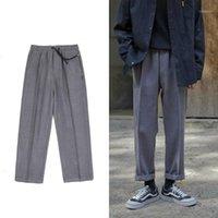 Ternos Masculinos Blazers Espessante Tecido Penteado Tecido Pants Lazer Calças Terno Casual Negócios Masculino Solto Western Estilo Trazer