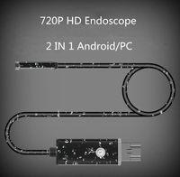 Mini câmeras 1m 2m 7mm lente 2 em 1 android / pc 720p hd endoscópio tubo À prova d 'água serpente câmara de inspeção USB com 6 LED