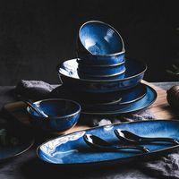 Kinglang 2/4 persona Juego de vajillas Japonés Klin Blue Vajilla Set Retro Hogar Tazón Plato Cuenco de arroz T200430