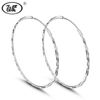 Outros WK Real 925 Silver Round Circle Brincos Joia Jóias Para As Mulheres Fino Pequeno Pequeno Big Hoops 25mm 30mm 35mm 45mm 50mm 55mm W4 ED0091