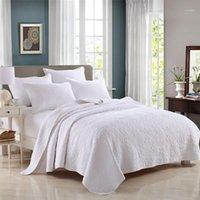 Famvotar Solid White 100% Baumwolle 3-piece Steppdecke-Set Floral Nähen Königin Größe Reversible Coveret 4 Saison Quilts1