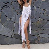 Cubierta de bikini blanco hecho a mano Crochet Long Beach Vestido 2021 Tassel Sexy Trajes de baño Mujeres Tamaño grande Traje de baño Túnica femenina Pareo