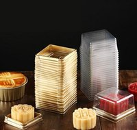 50 Sets = 100 stks Mini Size BlackGold Bodem Plastic Cupcake Cake Dome Container Bruiloft Gunst Dozen Cupcake Dozen Levert Gratis schip