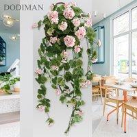 68cm / 75cm / 100cm 3 Tamanho alta simulação flor decorativa rosa videira bando de flores verde parede pendurado begonia flores videira t200103