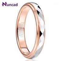 Nuncad 4mm Tungsteno Anello in metallo duro Superficie lucidato Rombo a forma di oro rosa placcatura in acciaio al tungsteno Wedding ring1
