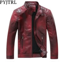 PYJTRL Mens Fashion Stand Collar Velvet Lining PU Leather Jacket Fleece Coats Chaqueta Hombre Casual Motorcycle Biker Jackets