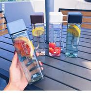 Netter New Square Tee Milch, Obst, Wasser Cup 500ml für Wasserflaschen trinken mit Seil Transparent Sport koreanischen Stil Hitzebeständig