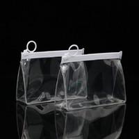 Горячая распродажа прозрачный складной нижний ziplock сумка водонепроницаемый EVA мешок для молнии косметики для хранения пакеты бесплатная доставка