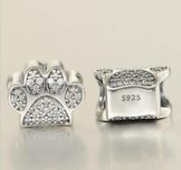 Convient aux bracelets Pandora Chiens Patte Imprimer Cats Silver Charm Perle Empreinte Animal Lâche Perles Lâche Vente en gros
