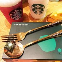 1 набор ложка Starbucks и вилкой 304 из нержавеющей стали кофе молока ложка ужин вилка маленький круглый десерт смешивание фруктовые ложки фабрики