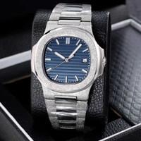 2020 NUEVO JOAN007 Top Quality Blue Dial Asia 2813 Movimiento Relojes de pulsera 40mm 5711 Relojes de relojes para hombre transparente mecánico
