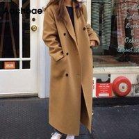 Женская шерстяная смесь AACHOA повседневная черно-хаки пальто Женщины с длинным рукавом Офисная одежда Элегантные пальто с двубортным карман