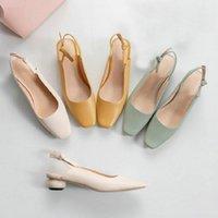 Sianie Tianie 2020 Yaz Sarı Nane Yeşil Lady Ofis Ayakkabı Slingback Yuvarlak Düşük Topuklu Kadın Ayakkabıları Slip-On Sandalet Kadın1