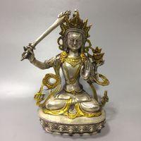 Collection Folk Art Vintage Rare Chinese Tibetan silver hand-carved Gilded Manjusri Bodhisattva Buddha Tara Statue