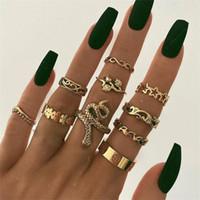 10 pezzi / set gioielli moda vintage Punk Punk Flower Star foglie di foglie dita del partito anello di giunto esagerato intaglio anello di serpente di cristallo set