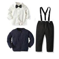 Ins Casual Erkek Suits Resmi Erkek Giyim Setleri Kazak Hırka + Papyon Gömlek + Askı Pantolon Çocuk Kıyafetler Erkek Giysileri 1-7Y B3623