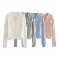 Женские вязаные тройники WixRA женские кардиган свитер приход осенью базовый случайный V-образным вырезом сплошной с длинным рукавом женские топы1