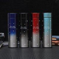Gradients Temperatura Controllo della temperatura Vuoto tazza stelle modello inverno in acciaio inox smart thermos tazze bottiglie regalo 500ml Bottiglie di regalo personalizzate VTKY2224