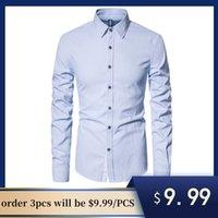 공장 정리 큰 판매 최고 품질의 면화 긴 소매 셔츠 남자 턴 다운 칼라 망 드레스 셔츠 캐주얼 사회 망 셔츠 LJ200928