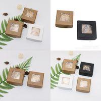 폴드 크래프트 종이 상자 가짜 속눈썹 비누 포장 용기 보석 반지 주최자 DIY 수동 성격 투명 창 1 차 D2