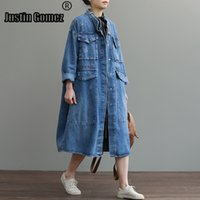 Cheap Oversize Casual Cowboy Trench Coat for Women Loose Outwear Long Denim Jean Coat Single-breasted Pocket Female Clothes 201015