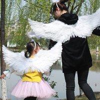 Bianco Piuma Angelo Ali Adulti Bambino adulto Masquerade Carnaval Angels Cosplay Costume Dance Stage Stage Show Matrimonio Decor Dress Fancy Dress Ala Y201006