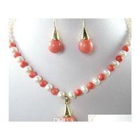 Blanc Perle Rose Coral Color Coquille Perle 18kgp Pendentif Collier Boucles d'oreilles Set 1qbfd