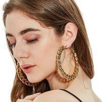Mode Design Femmes Déclaration Bijoux Rétro Géométrique Boucle d'oreille en métal Gold Couleur Or Boucle d'oreilles CCB Chaîne CCB
