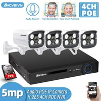 H.265 4CH 5MP PoE الأمن نظام كاميرا كيت 4 قطع 5mp hd poe ip كاميرا في الهواء الطلق للماء CCTV مراقبة الفيديو الصوت NVR 2TB1