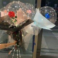 الصمام البالون مضيئة روز باقة باقة شفافة فقاعة ساحر روز بادو الكرة 2021 عيد الحب هدية حفل زفاف ديكور E121801