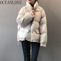 Oceanlove Women Parkas Stand Cuello coreano sólido grueso cálido abrigo de invierno moda vintage chaquetas sueltas manteau femme 18805 210203