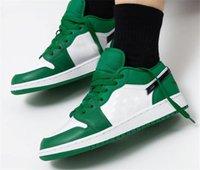 Sapatos de Basquete Popular Jumpman 1 Baixo 553560-301 Pinho Branco Branco Preto Mens Clippers, Stella McCartney, Mulheres Designer Sandálias Homens