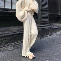 2020 fallen weiß weich und explosive breit Bein stricken Hosen, sehr groß und dünn Allgleiches Artefakt weiblichen Hosen Trend
