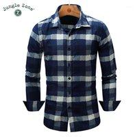 Commercio all'ingrosso- Zona della giungla Camicia da uomo Europeo Shirt da uomo Moda Denim Camicie Classic Lattice Design Manica lunga Mens Plaid Camicia 2017 Nuovo FM0851