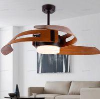 52-дюймовый потолочный вентилятор с легкими вентиляторами дистанционного управления с подсветкой для дома деревянных ламп Creative Design Урожай промышленной спальни