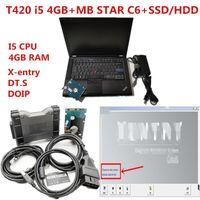 Ferramentas Diagnósticas T420 Laptop PC 4G CPU com MB multiplexador Estrela C6 VCI Diagnóstico com Est Software V2021.091