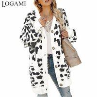LOGAMI Урожай Leopard Женщины Длинные Кардиган Осень Зима Повседневный однобортный вязаный свитер пальто 201007