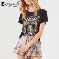 Everkaki Retro Bohemian Tshirt Women Printed Tees&tops Summer Boho T Shirt Women Fashion&casual Womens Clothing T-shirt Y200930