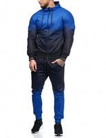 Unisex Herren Hoodie Anzug 2-teiliges Set Steigung-Farben-Pullover Herren Sweatshirt Jacke und Hose Sportbekleidung Herren-Sets