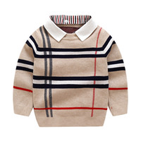 Herbst warme Wolle Jungen Pullover Plaid Kinder Strickwaren Jungen Baumwolle Pullover Pullover 2-7Y Kinder Mode Oberbekleidung