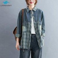 Kadınlar İlkbahar Sonbahar Moda Japonya Harajuku Stili Vintage Patchwork Yaka Gömlek Ofis Lady Büyük Beden Uzun Kollu Ekose Bluz Üst