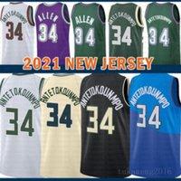 2021 New Basketball Jersey Giannis 34 AntetokounMPO Herren Günstige Ray 34 Allen Mesh Retro Jugend Kinder Black Herren