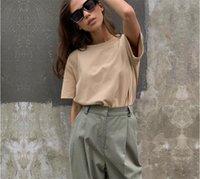 Liva chica 100% algodón T Camisa básica de las nuevas mujeres de gran tamaño Tees sólidos ocasionales flojas camiseta de Corea del cuello de O Superior Femenina 9 color