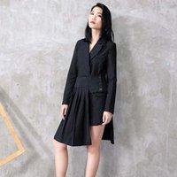 Dress da due pezzi [EAM] 2021 Spring Bavel manica lunga a strisce a strisce a strisce a stripedy half-corpo vestito irregolare vestito donna moda JC5071
