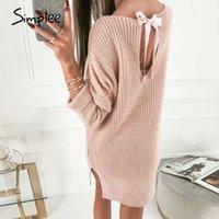 SimpLee розовый трикотажные припуск женщин свитер платье зимой щелевые короткие трикотажные платья Backless сексуальные женские vestidos 200928 платье
